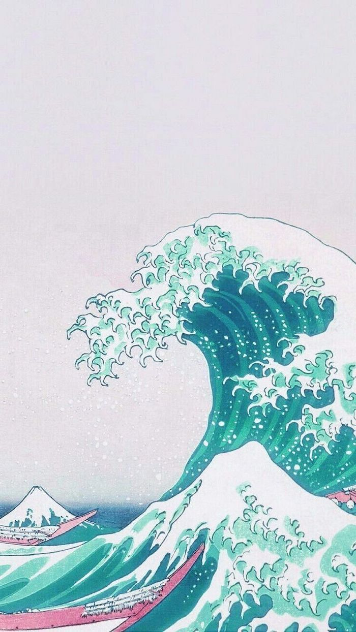 drawing of a tall, tidal wave, aesthetic iphone wallpaper