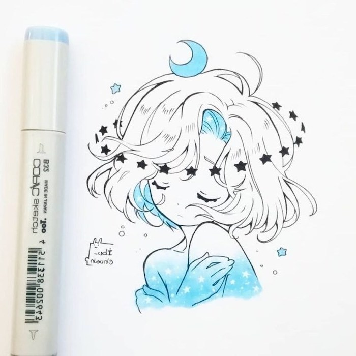 learn to draw anime, girl drawing, with black marker, stars and moon
