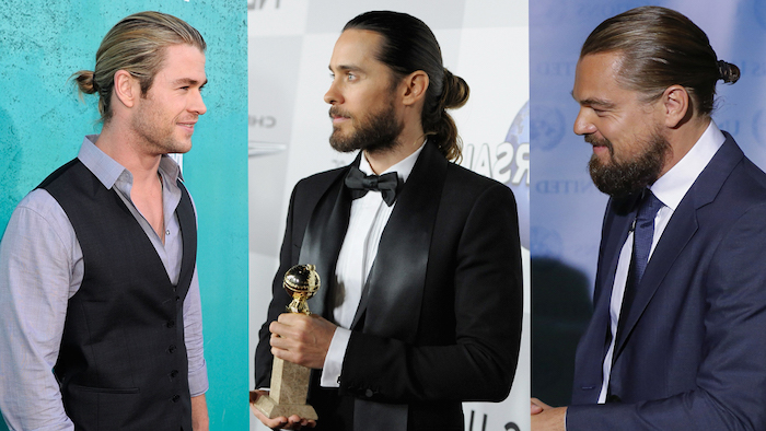 photo collage, hairstyles for men, chris hemsworth, jared leto, leonardo dicaprio, with man buns