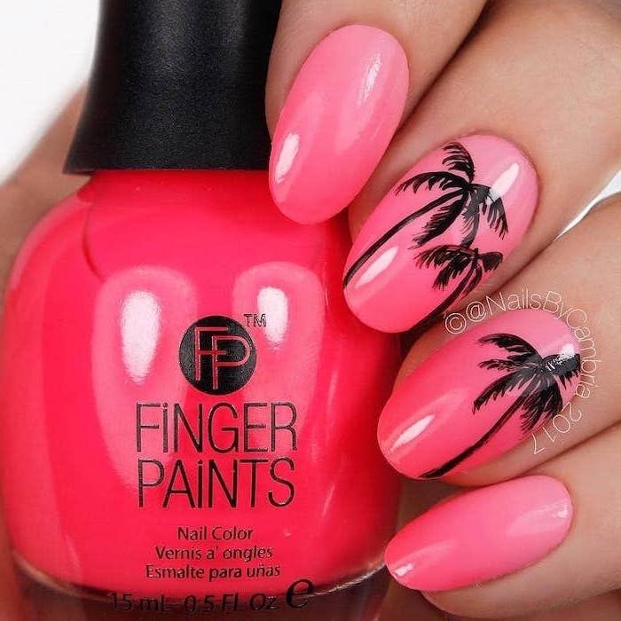 pink nail polish, black palm trees, spring nail designs, nail polish bottle