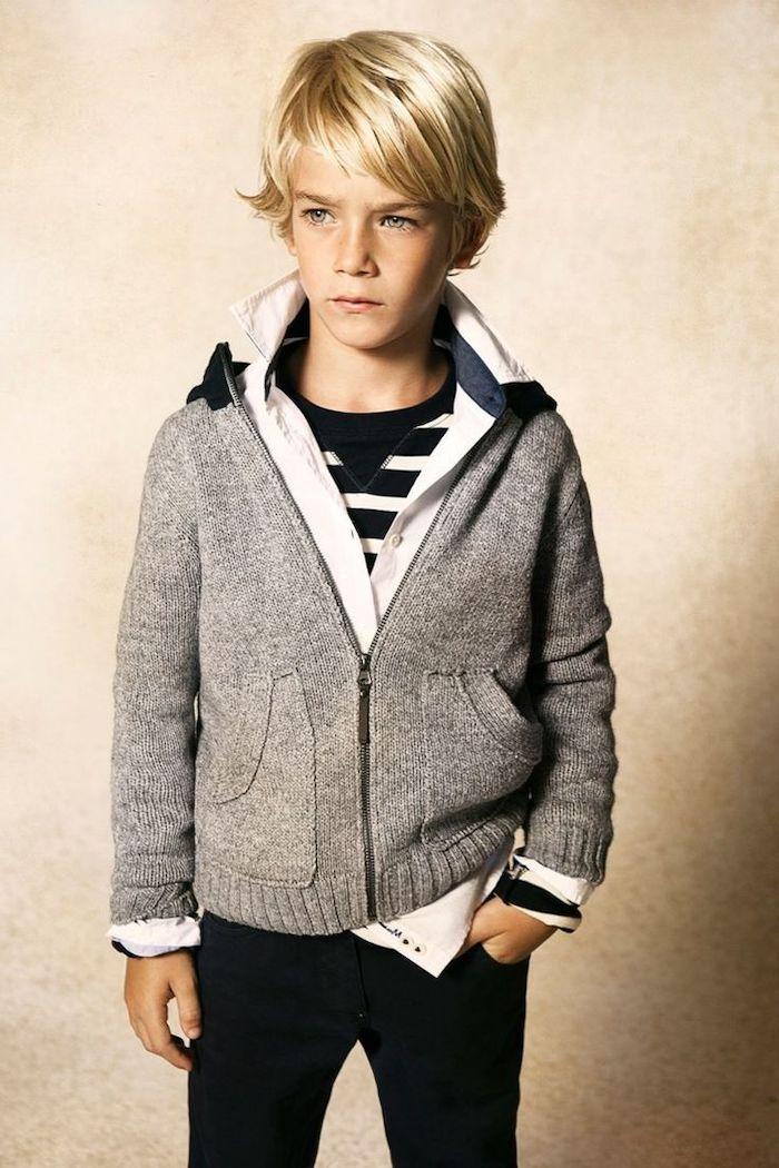 blonde hair, grey cardigan, little black boy haircuts, black and white, striped shirt, black pants