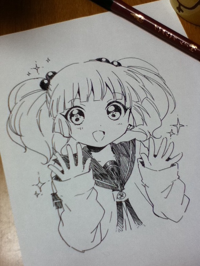 girl drawing, learn to draw anime, black and white, pencil sketch