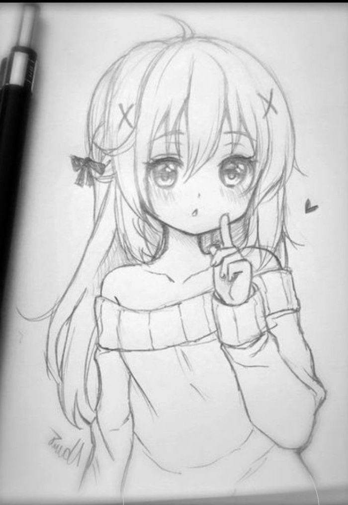 black and white, pencil sketch, learn to draw anime, girl drawing