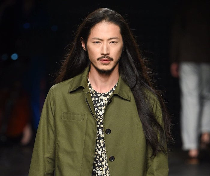 long straight, black hair, haircuts for men with thick hair, green blazer, floral shirt