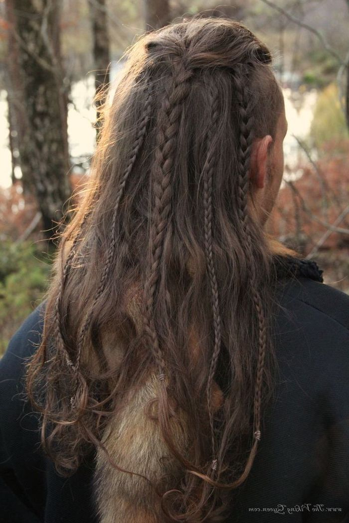 dark blonde hair, with different braids, hairstyles for men, black sweatshirt
