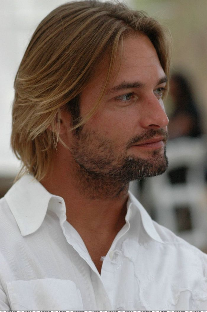 josh holloway, haircuts for men with thick hair, blonde hair, medium length, white shirt