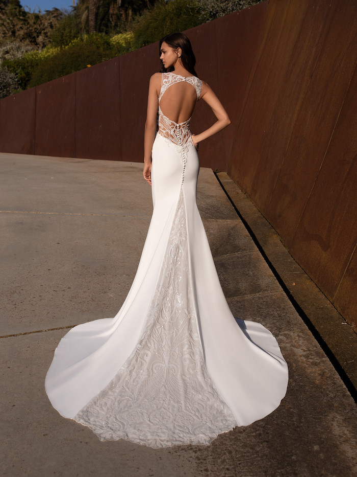 mermaid dress, made of lace and satin, wedding dresses online, open back, long trail