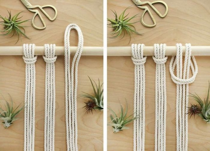 diy room divider, wooden pole, white rope, diy macrame, wooden background