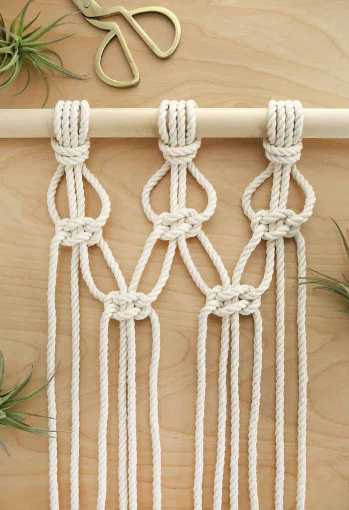 wooden pole, white rope, diy tutorial, with macrame, step by step, diy room divider