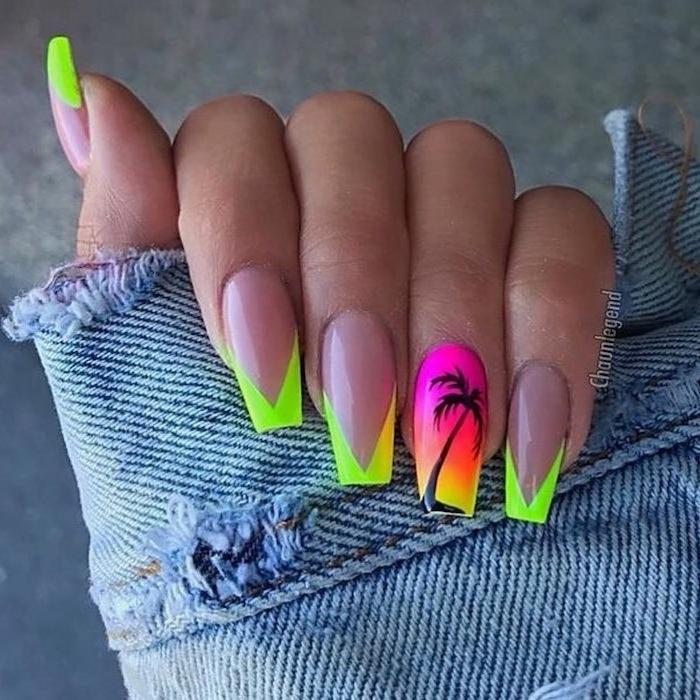 green and yellow, pink and orange, neon nail polish, nail tip designs, black palm tree, long coffin nails