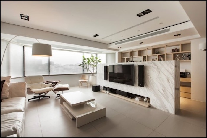 panel room divider, marble wall, wooden shelf, white leather sofa, tiled floor, white armchair
