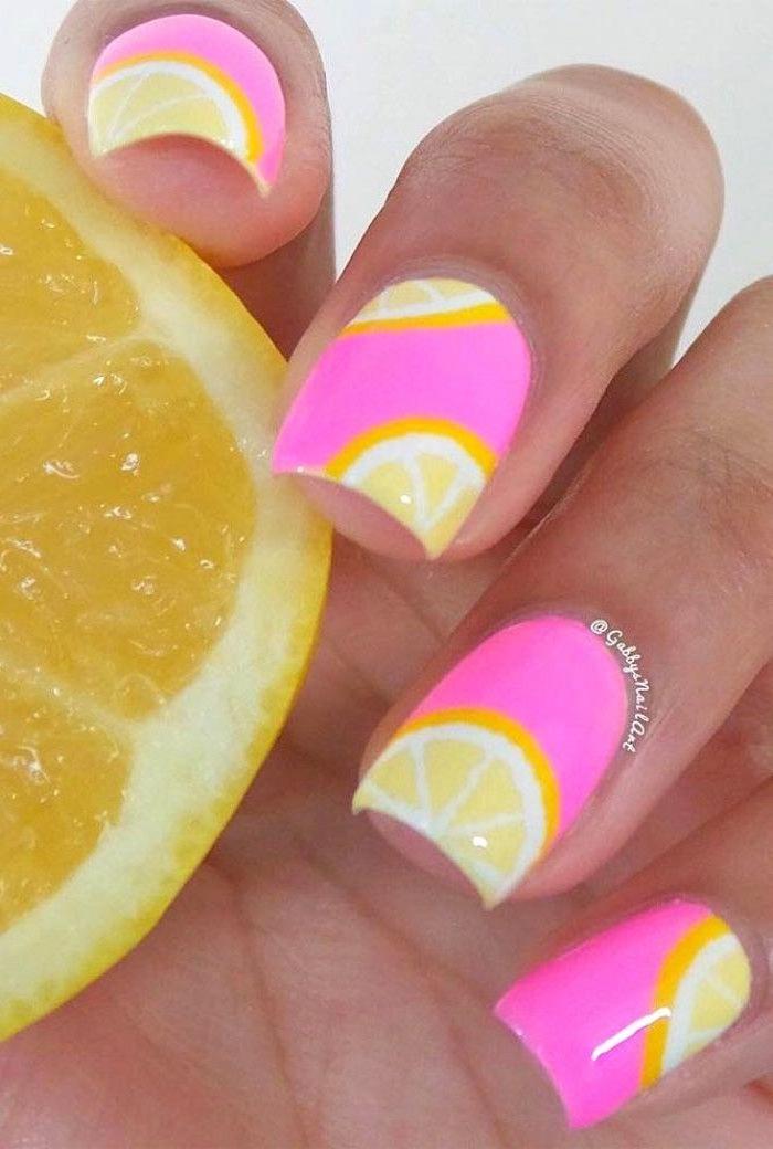 pink nail polish, lemon slices drawing, nail tip designs, white background, short nails