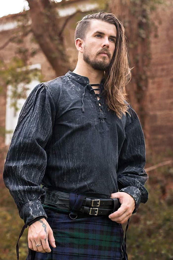 hairstyles for men with long hair, medieval clothing, checkered quilt, blonde hair