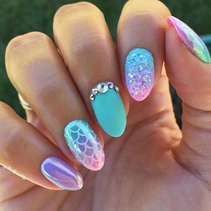 nail color ideas, mermaid nails, chrome and glitter, matte nail . polish, rhinestones on the middle finger