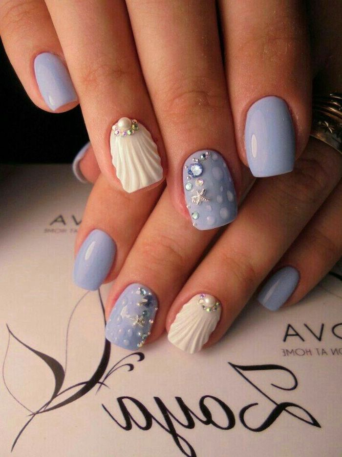 coffin nail ideas, mermaid nails, blue nail polish, white seashells, pearls and rhinestones