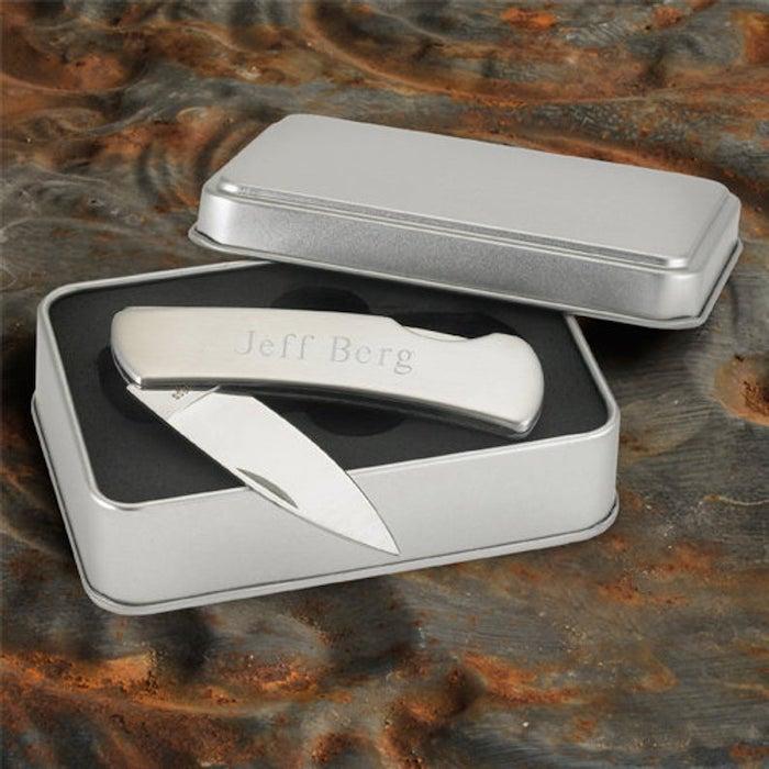 groomsmen invitations, metal box, metal knife, personalised with name, jeff berg