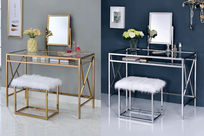 side by side photos, mirrored vanity table, gold metal, silver metal, white furry cushion, glass countertops