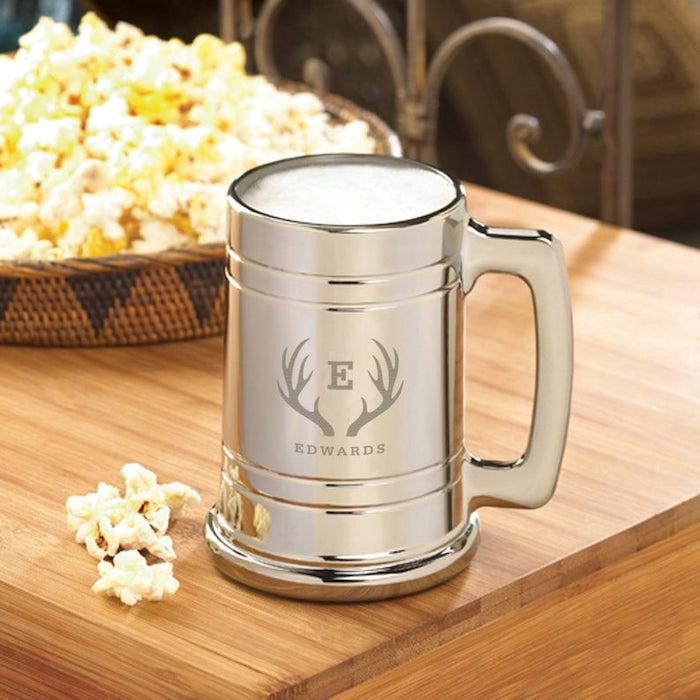 metal beer mug, personalised with name, groomsmen invitations, popcorn bowl, wooden table