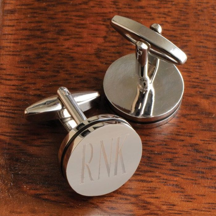 metal cufflinks, personalised with initials, groomsmen invitations, wooden background
