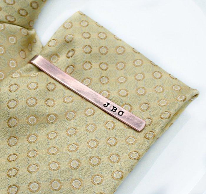 beige tie, tie clip, personalised with initials, white background, groomsmen invitations