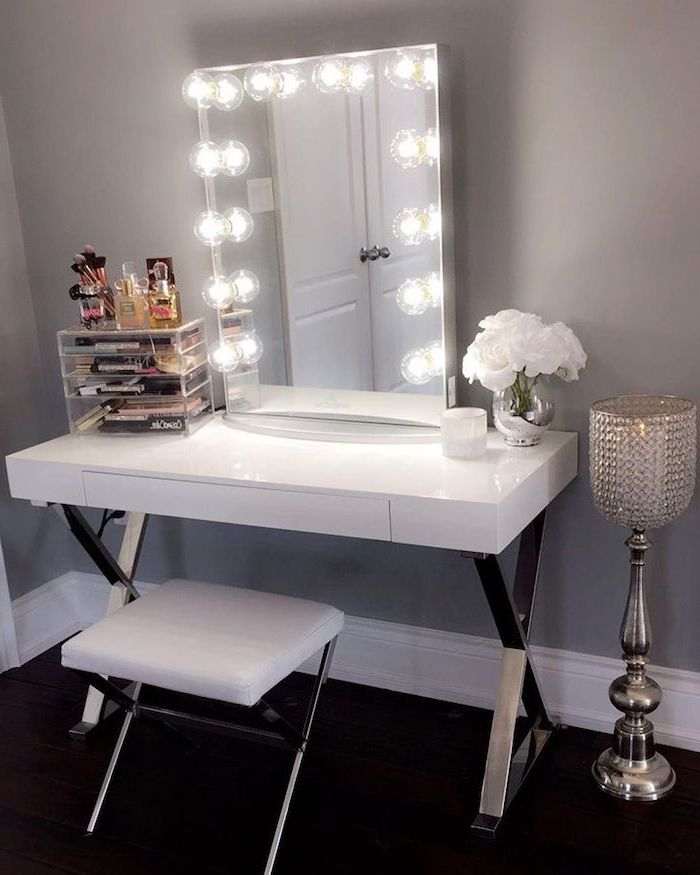 small makeup vanity, white table, white leather stool, mirror with lights, grey wall, acrylic makeup drawers