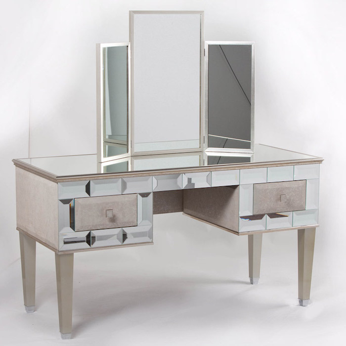 three fold mirror, mirrored countertop, small makeup vanity, with drawers, white background