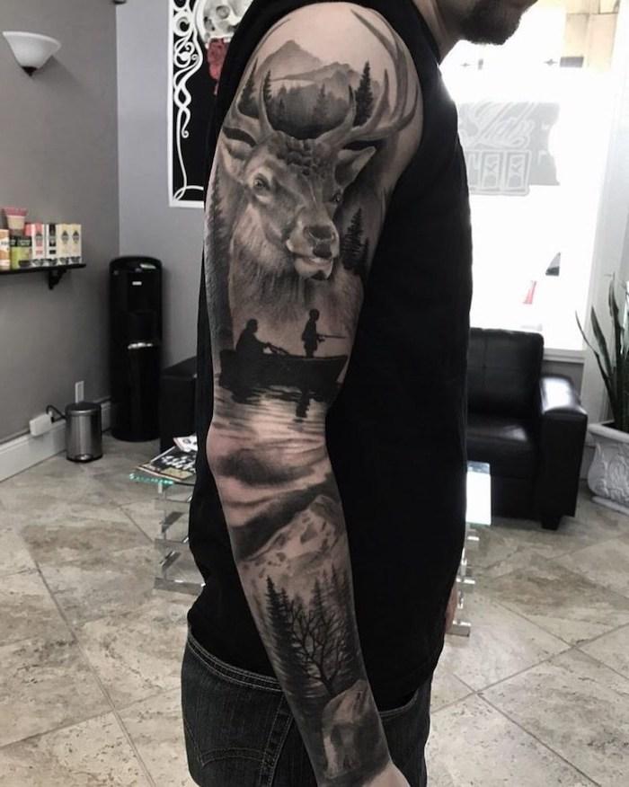 mountain landscape, sleeve tattoo designs, black sofa, black top, tiled floor