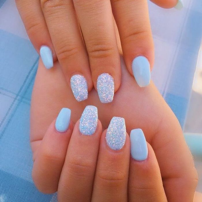 blue and glitter, nail polish, coffin nail ideas, blue background
