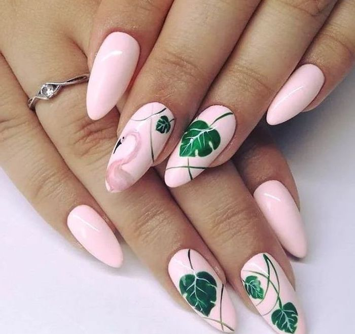 pink nail polish, pink flamingo, green leaves, nail color ideas, silver ring, white background