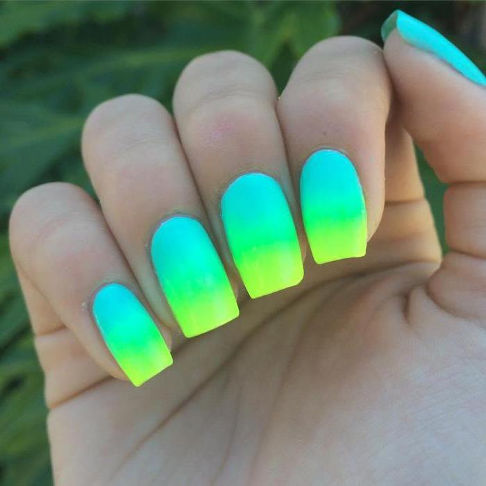 blue green and yellow, neon nail polish, ombre effect, coffin nail ideas, blurred background
