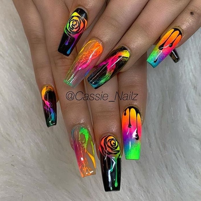 long coffin nails, coffin nail ideas, abstract design, colorful nail polishes, neon colors