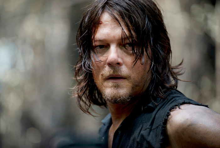 medium length hair men, norman reedus, black sleeveless vest, brown hair
