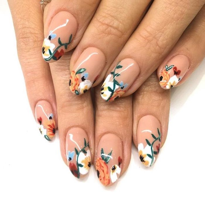 nude nail polish, summer acrylic nails, floral motifs, white and orange flowers
