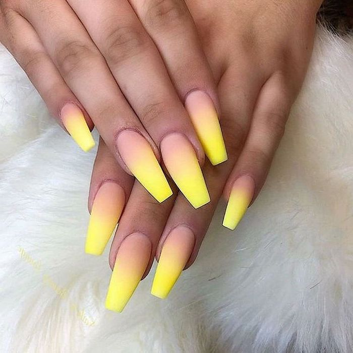 nude and yellow ombre, summer acrylic nails, long coffin nails, white background