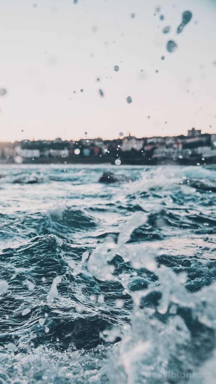 ocean waves, cute backgrounds for girls, houses in the background