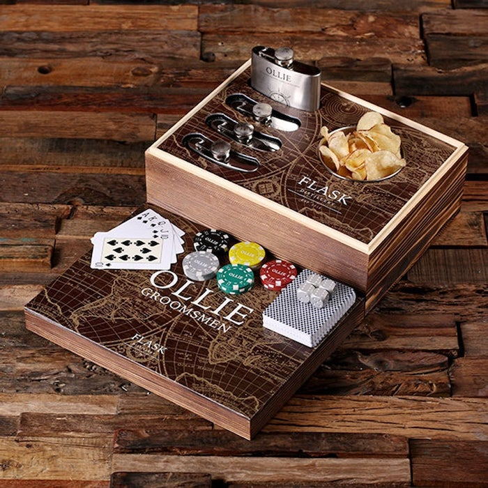 wooden box, poker set, with metal flasks, groomsmen invitations, deck of cards, poker chips