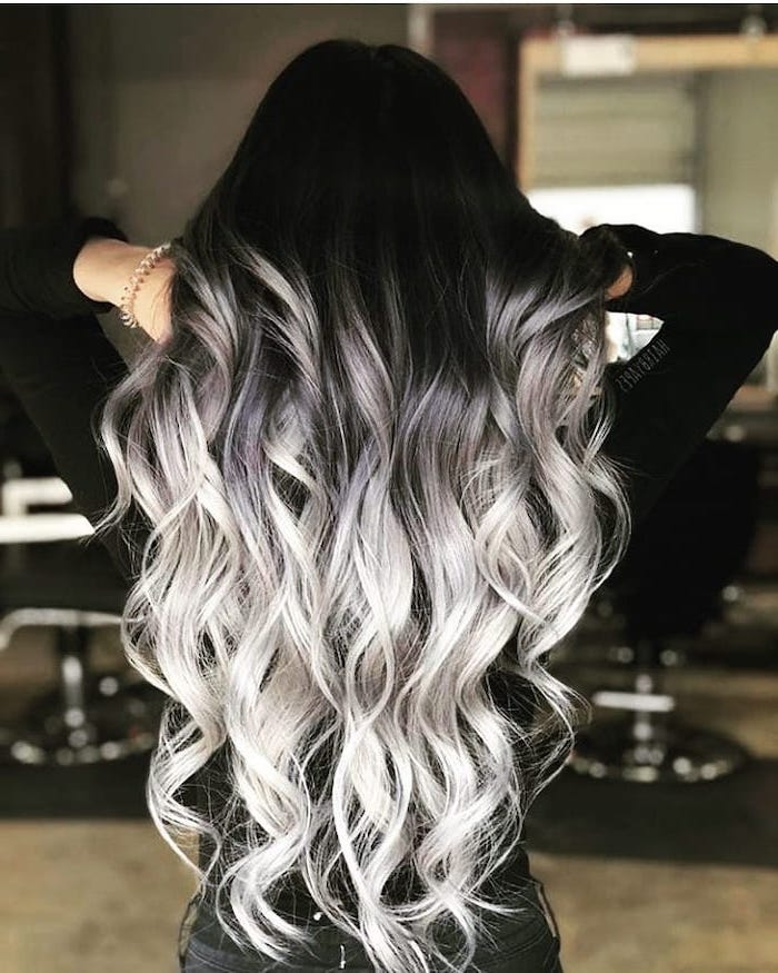 long wavy hair, black to platinum blonde, ash blonde ombre, black top
