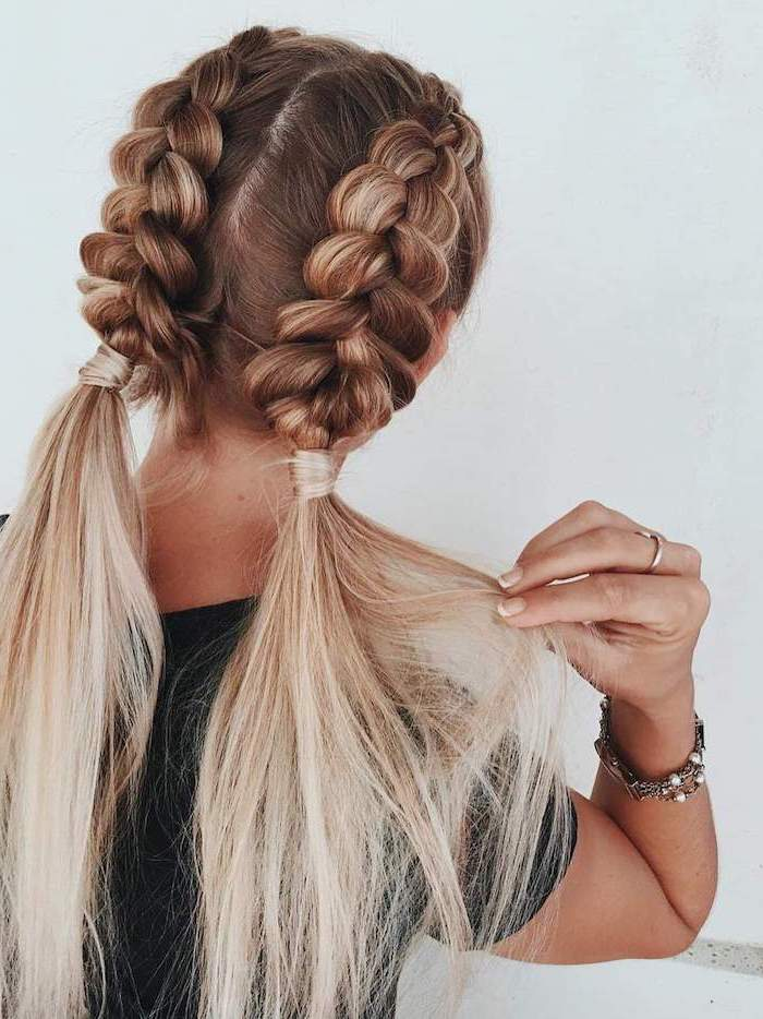 two braids, two ponytails, dark blonde hair, ombre hair, how to braid, black top