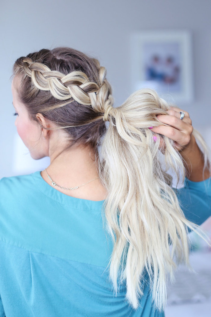 ombre hair, two braids, wavy ponytail, easy braid hairstyles, blue shirt