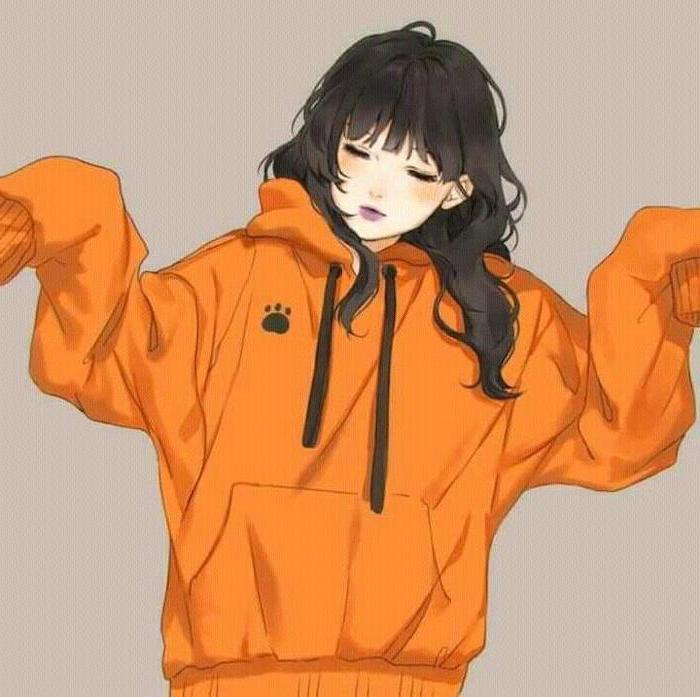girl drawing, black hair, orange hoodie, learn to draw anime, colourful drawing