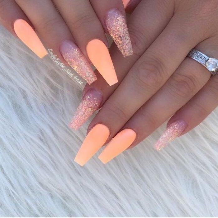 orange nail polish, orange sequins, long coffin nails, summer acrylic nails, white background