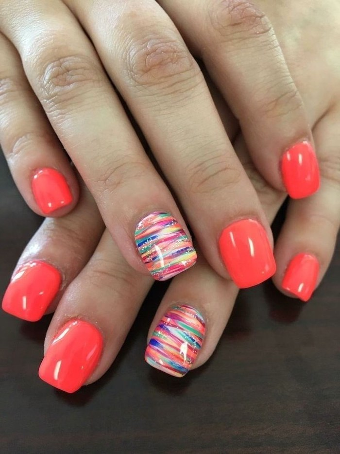 pink nail polish, rainbow colored strokes, what color should i paint my nails, black background