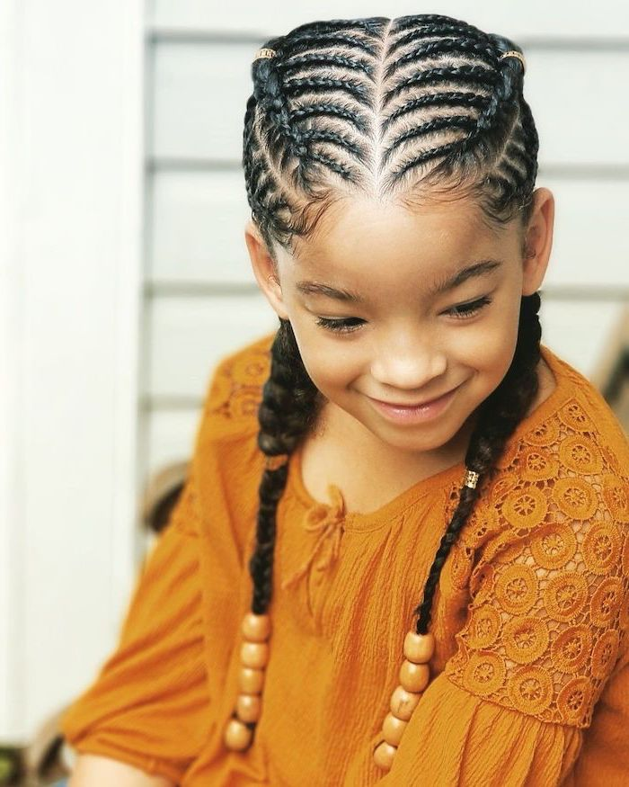 orange top, little girl, black hair, braided with beads, easy braid hairstyles