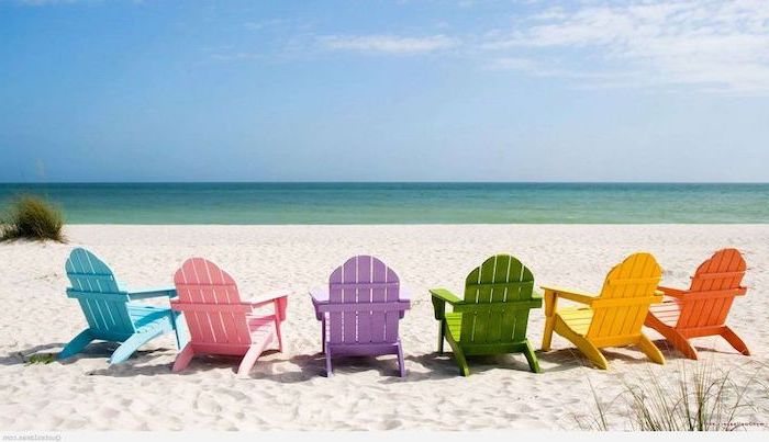 orange and yellow, green and purple, pink and blue, lounge chairs, cute summer wallpapers, on the beach