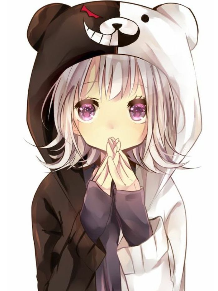 black and white, panda hoodie, colourful drawing, anime girl face, purple eyes