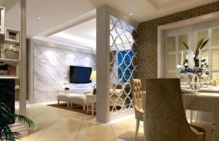 marble tiled wall, tiled floor, white metal, room divider shelves, vintage chairs, white ottomans