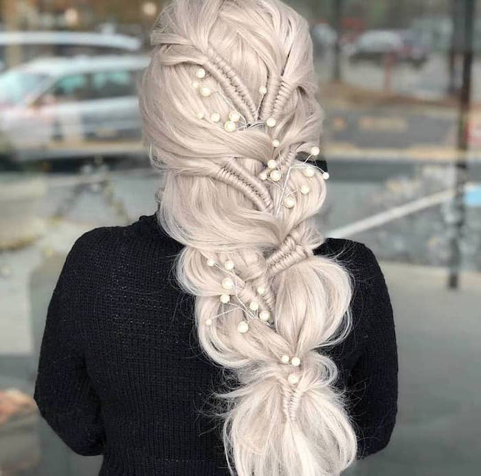 intricate braided hair, platinum blonde hair, how to braid, white pearls, black cardigan