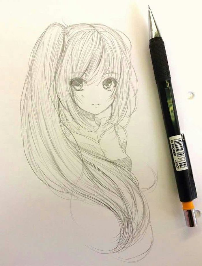 anime girl face, black and white, pencil sketch, girl drawing