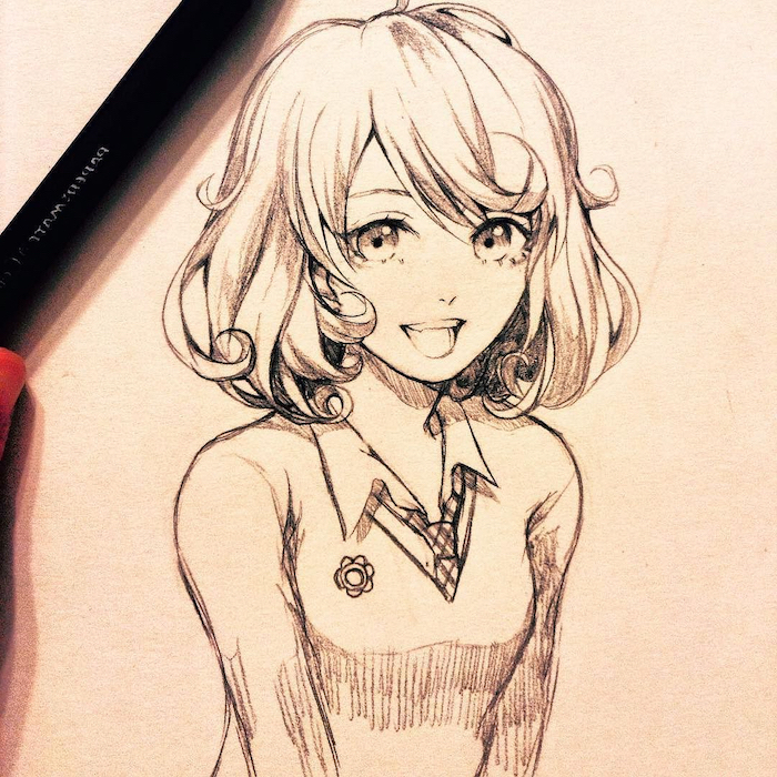 black and white, pencil sketch, anime girl face, girl drawing