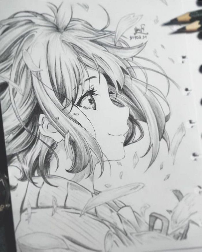 girl drawing, anime girl face, black and white, pencil sketch